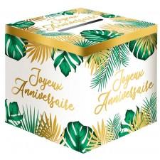 Urne Joyeux anniversaire dorée et verte pour anniversaire sur le thème tropical