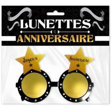 Lunettes joyeux anniversaire noires et dorées