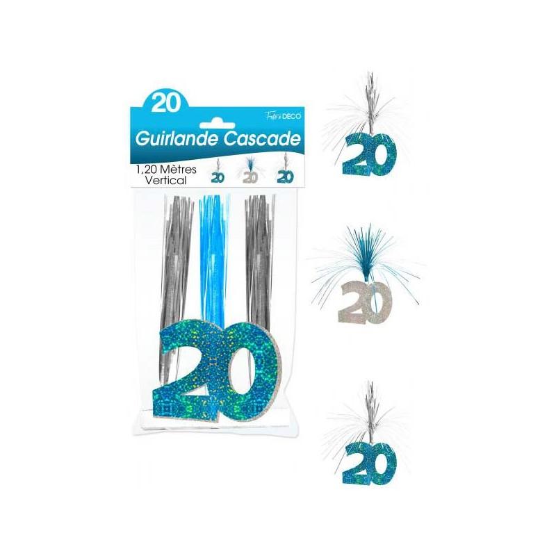 Guirlande bleu et argent 20 ans pour anniversaire