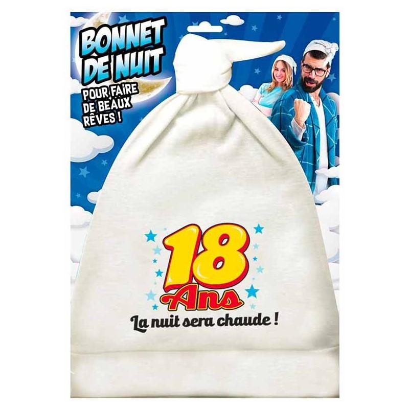 Bonnet de nuit humoristique 18 ans pour cadeau d'anniversaire