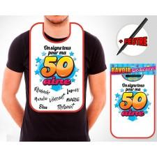 Bavoir pour cadeau d'anniversaire 50 ans à signer