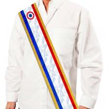 écharpe miss ou mister tricolore pour anniversaire, EVG ou EVJF
