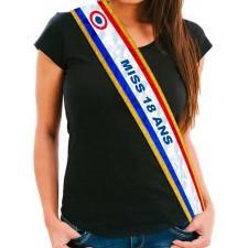 Écharpe de miss anniversaire 18 ans bleu blanc rouge