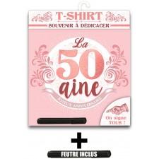 Tee-shirt femme à signer pour anniversaire 50 ans rose gold