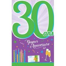 Carte anniversaire pour âge 30 ans