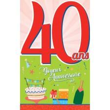 Carte 40 ans à signer pour anniversaire