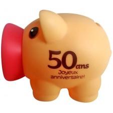 Tirelire cochon 50 ans spéciale anniversaire humoristique
