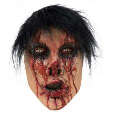 Masque en latex d'Halloween avec cheveux de visage brulé