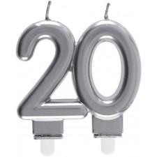 Bougie 20 ans argent