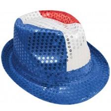Chapeau de supporter borsalino bleu blanc rouge