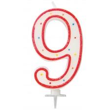 Grand bougie en forme de chiffre 9 pour anniversaire