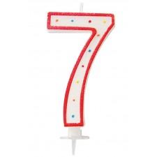 Bougie géante âge en forme de chiffre 7 blanche et rouge