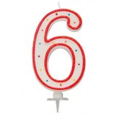 Grande bougie en forme de chiffre 6 pour décorer un gâteau d'anniversaire