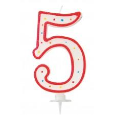 Bougie géante âge en forme de chiffre 5 blanche et rouge