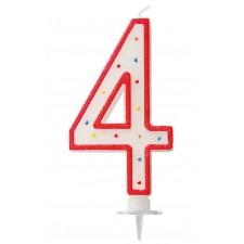 Grande bougie d'anniversaire en forme de chiffre 4 blanche et rouge