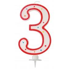Grande bougie d'anniversaire en forme de chiffre 3