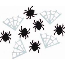 Confettis pour décoration de table Halloween avec araignées et toiles