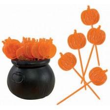 Chaudron avec pics citrouilles pour table sur le thème d'Halloween