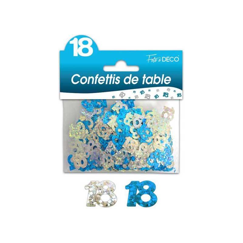 Confettis de table 18 ans bleu et argent