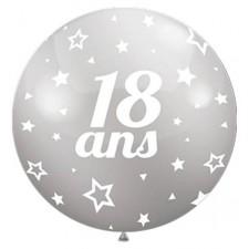 Ballon 18 ans géant couleur argent