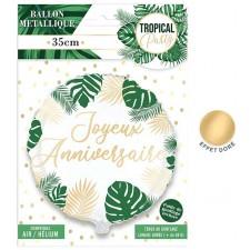 Ballon d'anniversaire thème tropical en aluminium