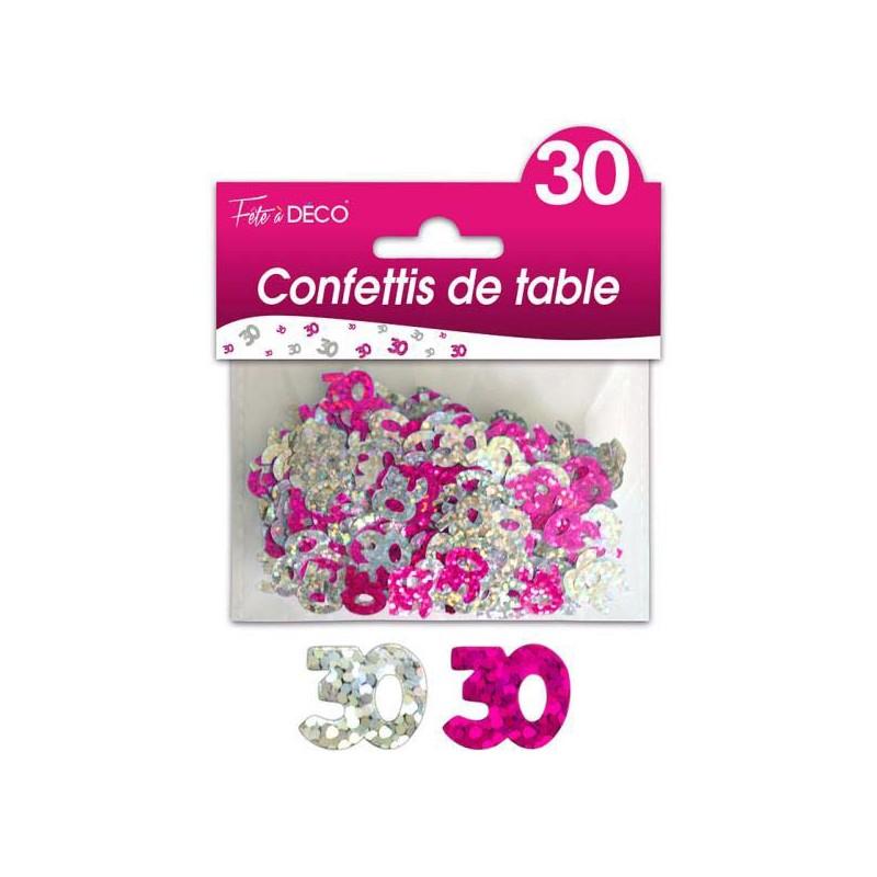 Confettis de table anniversaire 30 ans rose et argent
