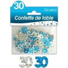 Confettis de table bleu et argent