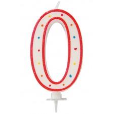 Grande bougie en forme de chiffre 0 pour décorer un gâteau d'anniversaire