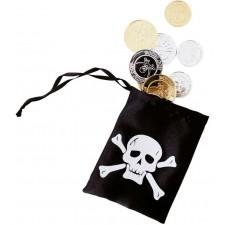 Petite bourse de pirate avec pièces d'argent et d'or