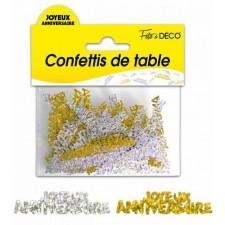 Confettis de table joyeux anniversaire or et argent
