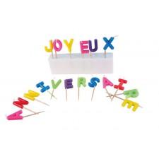 Bougies en forme de lettres joyeux anniversaire très colorées