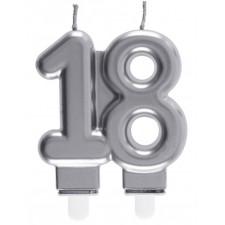 Bougie 18 ans couleur argent pour gâteau d'anniversaire