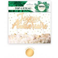 Décoration dorée pour gâteau d'anniversaire tropical