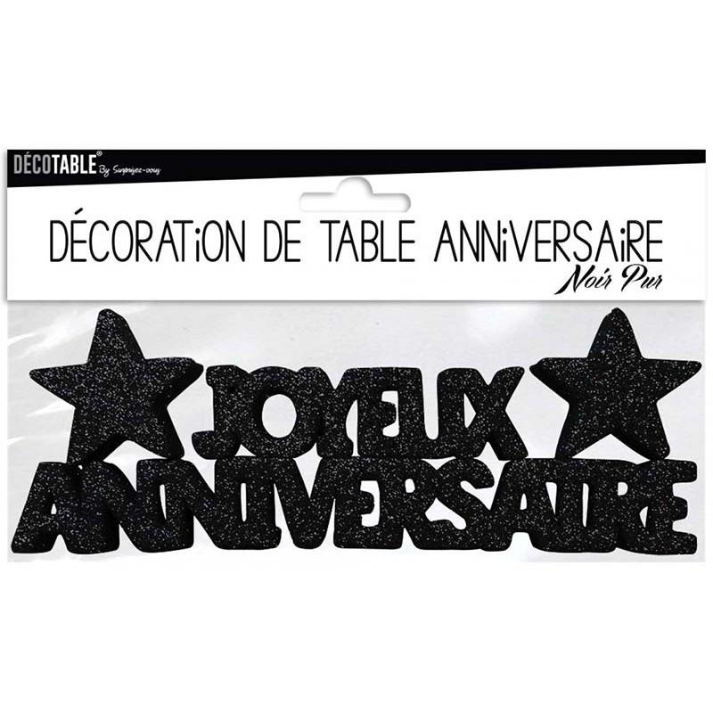 Décoration pour table joyeux anniversaire noire