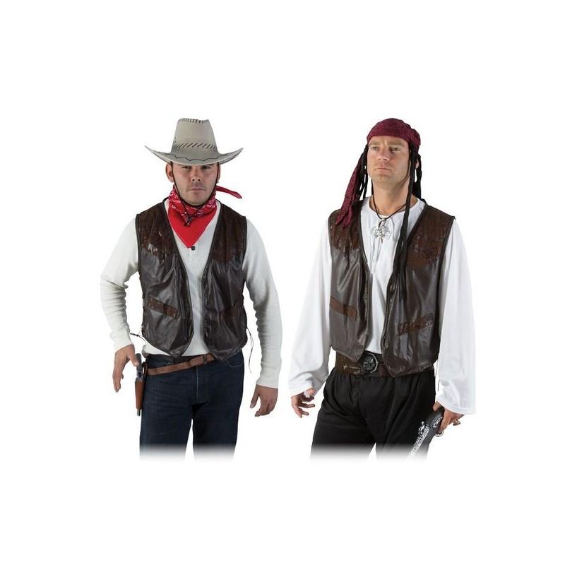 Gilet marron imitation cuir pour costume de cowboy ou de pirate
