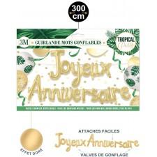 Guirlande joyeux anniversaire tropicale dorée composée de deux ballons