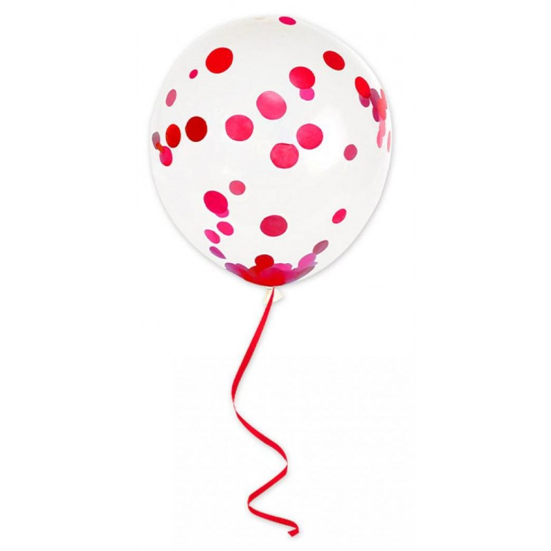 Ballons avec confettis rouges