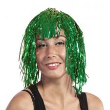 Perruque disco métallique avec cheveux verts