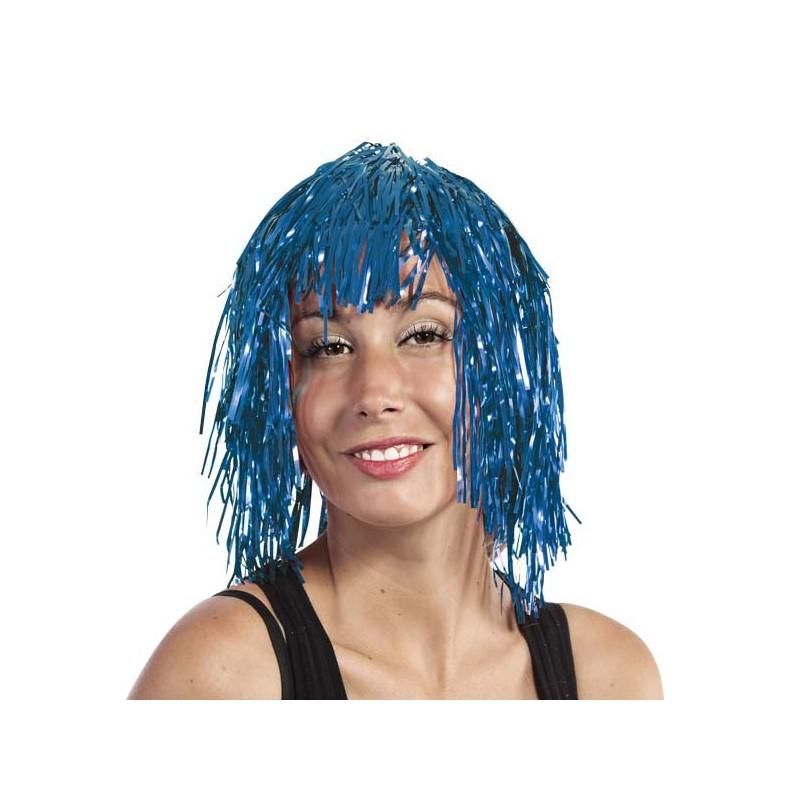 Perruque adulte bleue pour soirée disco