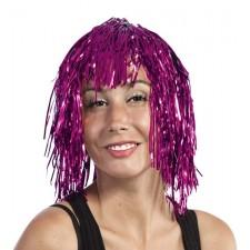 Perruque avec cheveux métalliques roses pour soirée disco