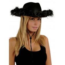 Chapeau de cow-girl noir avec plumes pour femme