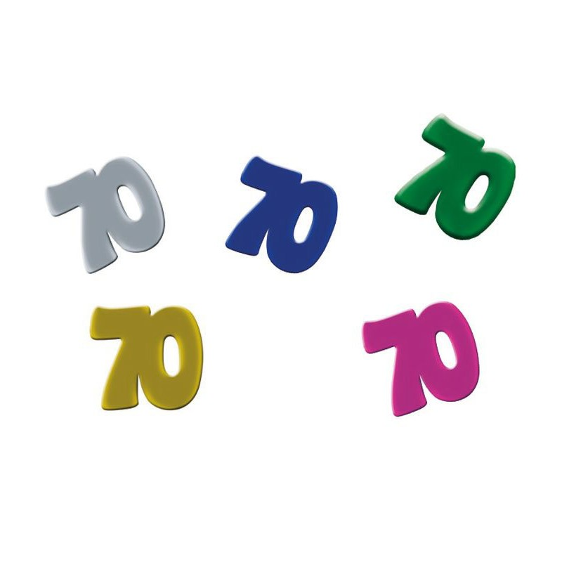 Confettis de table 70 ans colorés