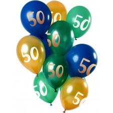 Bouquet de ballons en latex 50 ans or, vert et bleu gonflables à l'air et à l'hélium