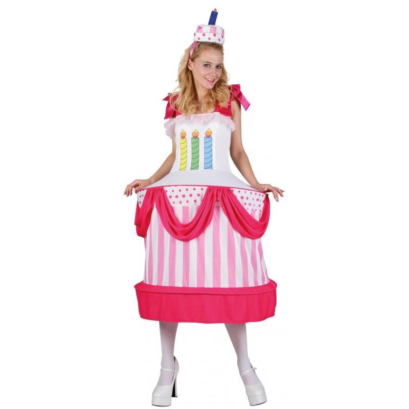 Costume femme en forme de gâteau d'anniversaire