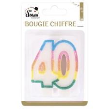 Bougie pour décoration d'anniversaire 40 ans