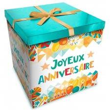 Boîte de cadeau d'anniversaire très colorée en carton