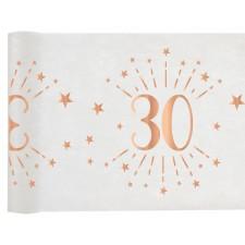 Chemin de table 30 ans spécial anniversaire rose gold et blanc de 5 mètres