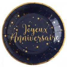Assiettes joyeux anniversaire bleues et dorées