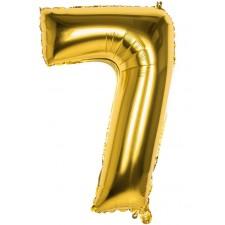 Ballon en forme de chiffre 7 couleur or en aluminium de 86 cm gonflable à l'hélium