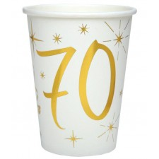 Gobelets 70 ans en carton pour anniversaire